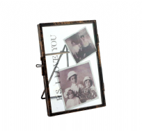 "PS I Love You  ~ 6 X 4"" Vintage Black Metal and Glass Photo Clip Frame"